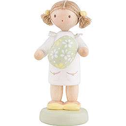 Flax Haired Children Girl with Easter Egg, Green  -  5cm / 2 inch