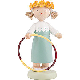 Flax Haired Children Girl with Hula Hoop  -  5cm / 2 inch