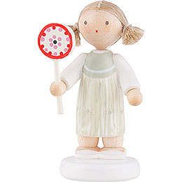 Flax Haired Children Girl with Lollipop  -  5cm / 2 inch