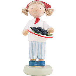Flax Haired Children Girl with Plums  -  5cm / 2 inch