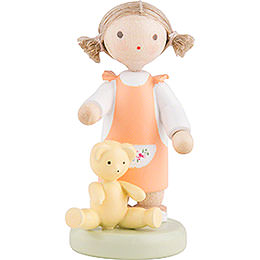 Flax Haired Children Girl with Teddy Bear  -  Ca. 5cm / 2 inch