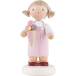 Flax Haired Children Little Girl with Icecream  -  5cm / 2 inch
