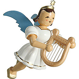 Floating Angel Colored, with Lyre  -  6,6cm / 2.6 inch