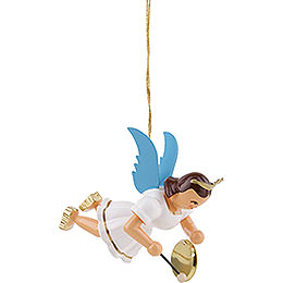 Floating Angel with Gong, Colored  -  6,6cm / 2.6 inch