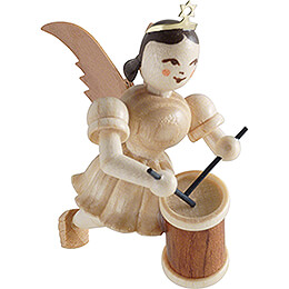 Floating Angel with Long Drum  -  Natural  -  6,6cm / 2.6 inch