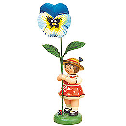 Flower Girl with Pansy  -  11cm / 4,3 inch