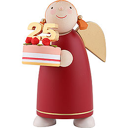 Guardian Angel with Fancy Cake, Red  -  8cm / 3.1 inch
