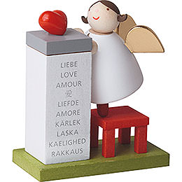 Guardian Angel with Heart on Podium  -  3,5cm / 2inch / 1.4 inch