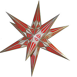 Hartenstein Christmas Star for Inside Use  -  White - Red with Silver  -  68cm / 27 inch