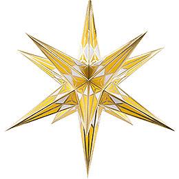 Hartensteiner Weihnachtsstern für Innen  -  weiß - gelb mit gold  -  68cm