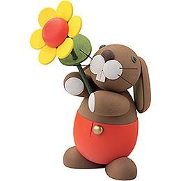 """Hase """"Hugo"""" mit Sonnenblume  -  16cm"""