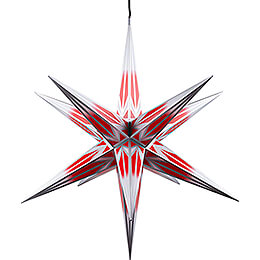 Hasslau Christmas Star  -  Red/White with Silver Pattern and Lighting  -  75cm / 30 inch  -   Inside/Outside Use