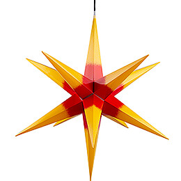 Hasslau Christmas Star  -  Yellow with Red Core and Lighting  -  75cm / 30 inch  -   Inside/Outside Use