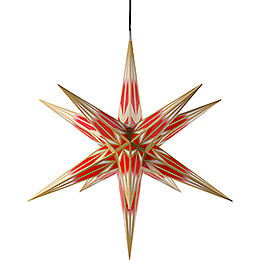 Hasslau Christmas Star for Inside and Outside Use Red/White with Golden Pattern incl. Lighting  -  75cm / 30 inch