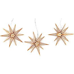 Haßlauer Weihnachtsstern 3er - Set Ministern für Innen weiß mit Goldmuster  -  16cm