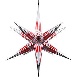 Haßlauer Weihnachtsstern für Innen und Außen rot/weiß mit Silbermuster inkl. Beleuchtung  -  75cm