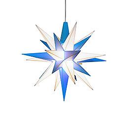 Herrnhuter Stern A1e weiß/blau Kunststoff  -  13cm