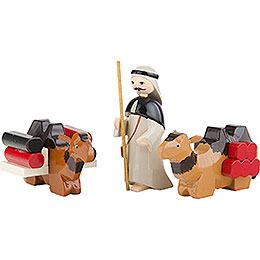 Kameltreiber und liegende Kamele 3 - teilig farbig  -  7cm