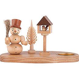Kerzenhalter Schneemann mit Vogelhaus natur  -  11cm
