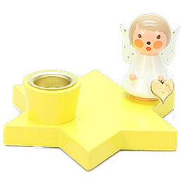 Leuchter Engel auf Stern gelb  -  3cm