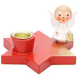 Leuchter Engel auf Stern rot  -  3cm