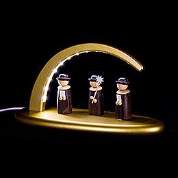 Leuchterbogen mit LED  -  Weihnachtssänger  -  gold  -  24x13cm