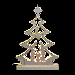 Lichterspitze Mini - Baum Krippenszene, LED  -  23,5x15,5x4,5cm