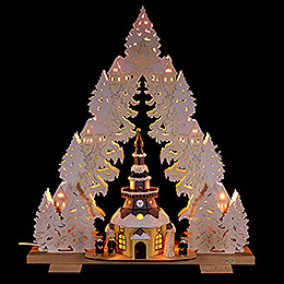 Light Triangle  -  Church of Seiffen with Snow  -  44x50x15cm / 17x20x6 inch