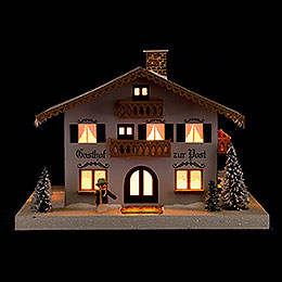 "Lighted House Inn ""Zur Post""  -  21cm / 8.3 inch"