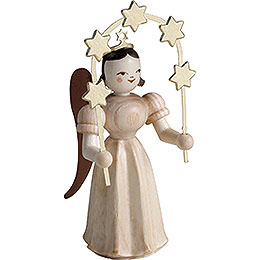 Long Pleated Skirt Angel with Star Arch, Natural  -  6,6cm / 2.6 inch