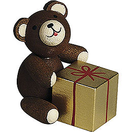 Lucky Bear with Gift  -  2,7cm / 1.1 inch