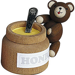 Lucky Bear with Honey Pot  -  4cm / 1.6 inch