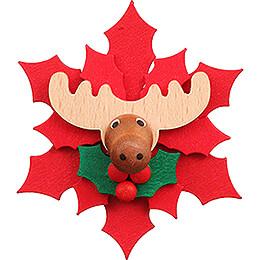 Magnet Weihnachtsstern mit Elch  -  6,5cm