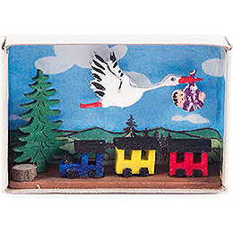 Matchbox  -  Stork, Baby and Train  -  4cm / 1.6 inch