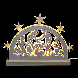 Mini - LED - Schwibbogen Krippenmotiv  -  23x15x4,5cm