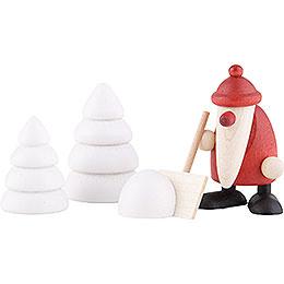 Miniaturen - Set Weihnachtsmann mit Schneeschippe  -  4cm