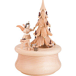 "Music Box ""Christmas Dream"" with Christmas Tree and One Angel, Natural  -  12x17,5cm / 2 inch"