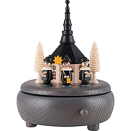 Music Box  -  Seiffen Church and Carolers  -  Grey  -  13cm / 5.1 inch