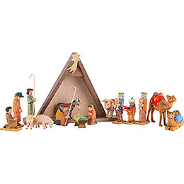 Nativity Set of 16 Pieces, Colored  -  14,5cm / 5.7 inch