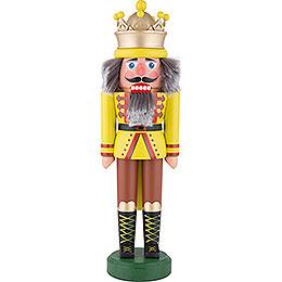 Nussknacker König mit Krone gelbgrün matt  -  43cm
