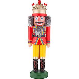 Nussknacker König mit Krone rot - gelb matt  -  31cm
