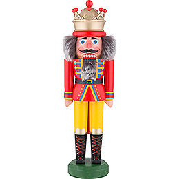 Nutcracker  -  King with Crown Red - Yellow Matt  -  43cm / 16.9 inch