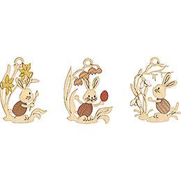 Osterschmuck Stupsi mit Blumen 6 - er Set  -  6,5cm