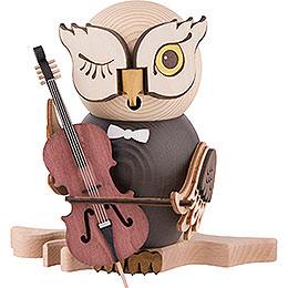 Räuchereule mit Cello  -  15cm