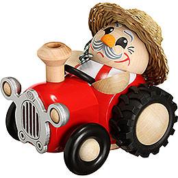 Räuchermännchen Bauer im Traktor  -  Kugelräucherfigur  -  10cm