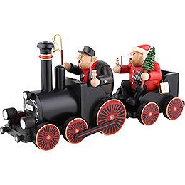 Räuchermännchen Lokführer mit Eisenbahn  -  48,5x21,5x13cm