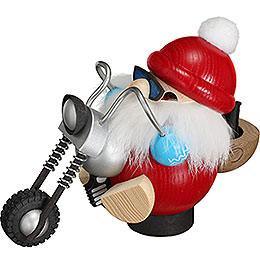 Räuchermännchen Nikolaus auf Motorrad  -  Kugelräucherfigur  -  11cm