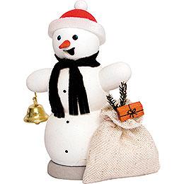 Räuchermännchen Schneemann mit Geschenkesack  -  13cm