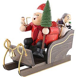 Räuchermännchen Weihnachtsmann mit Schlitten  -  30cm