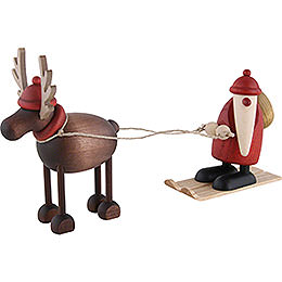 Rudolf the Reindeer with Santa Claus on Ski  -  12cm / 4.7 inch
